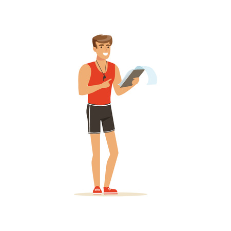 Professioneller Fitnesstrainer mit Trainingsplanvektorillustration