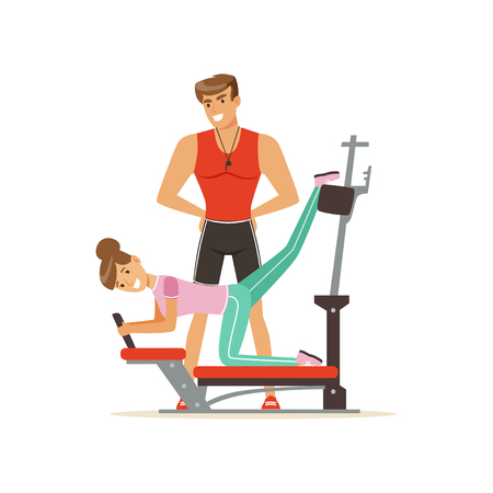 Professional fitness coach and woman exercising on trainer gym machine, people exercising under control of personal trainer vector Illustration