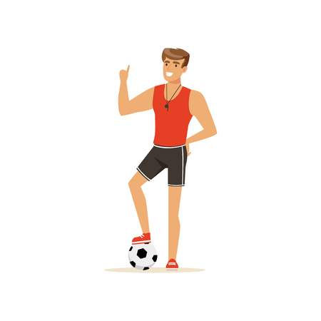 Professional fitness coach or instructor with soccer ball vector Illustration 向量圖像
