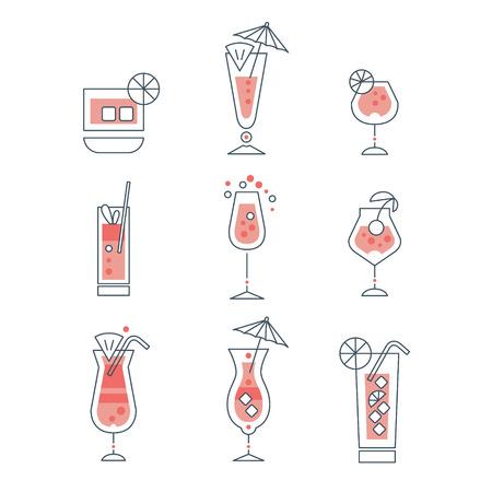 Set van alcoholhoudende cocktails lijntekeningen