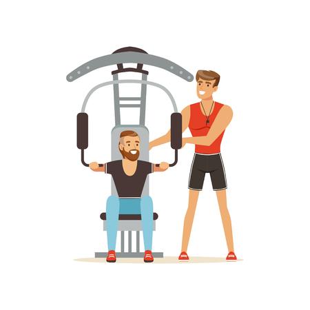 Professionele fitness coach en man flexing spieren op trainer gym machine, mensen oefenen onder controle van personal trainer vector illustratie