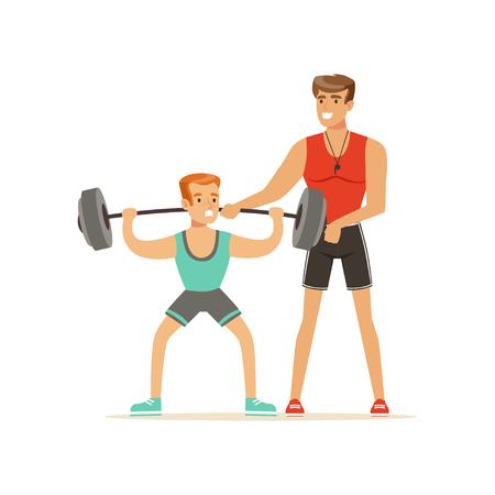 Professioneller Fitness-Trainer-Mann, der mit einer Langhantel trainiert, Leute, die unter Kontrolle des persönlichen Trainervektors Illustration trainieren