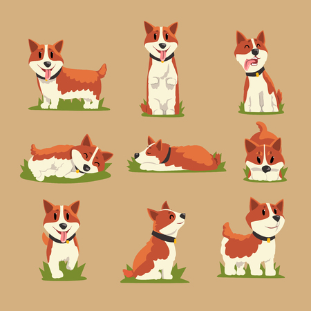 Set of cartoon red-haired corgi dogs 矢量图像