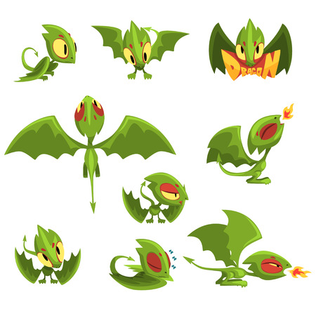 Set of cartoon green baby dragon character in different situations Illustration