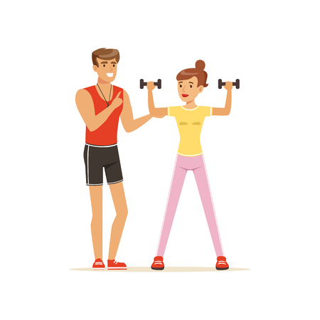 Professional fitness coach exercising with dumbbells, people exercising under control of personal trainer vector Illustration Illustration