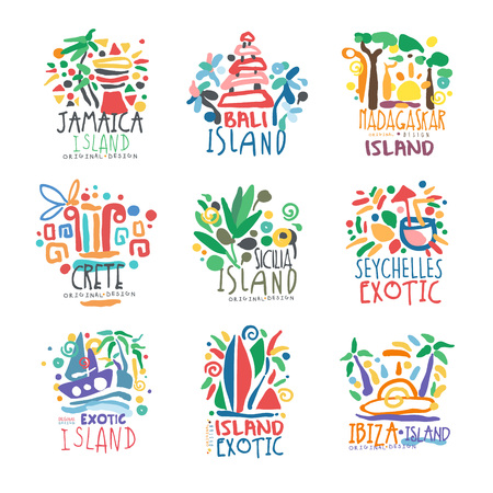 Exotic islands summer vacation colorful   set