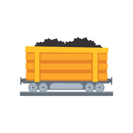 Cartoon yellow large mine trolley loaded with coal on railway. Transport for carrying raw materials. Coal shipping container. Mining and quarrying industry. Vector in flat style isolated on white. Ilustração