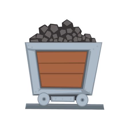 Mijnbouw houten kleine wagen beladen met steenkool op spoorlijn. Kolen transportcontainer. Vervoer voor het vervoer van grondstoffen. Mijnbouw en steengroevenindustrie. Vectorillustratie in vlakke stijl geïsoleerd op wit. Stock Illustratie