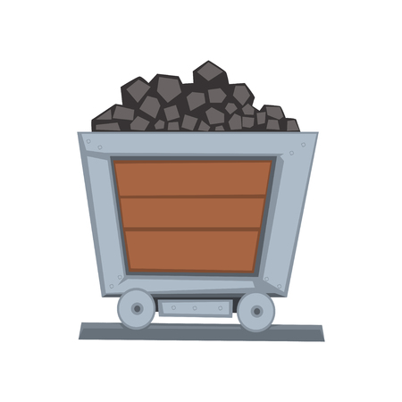 Mining wooden little wagon loaded with coal on railway. Coal shipping container. Transport for carrying raw materials. Mining and quarrying industry. Vector illustration in flat style isolated on white. Ilustração