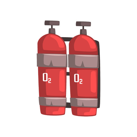 compressed air: Cartoon miner backpack with oxygen tanks. Equipment for work at bottom of deep wells. Self-contained breathing air device. Red steel or aluminum cylindrical vessel with valves. Flat vector on white.