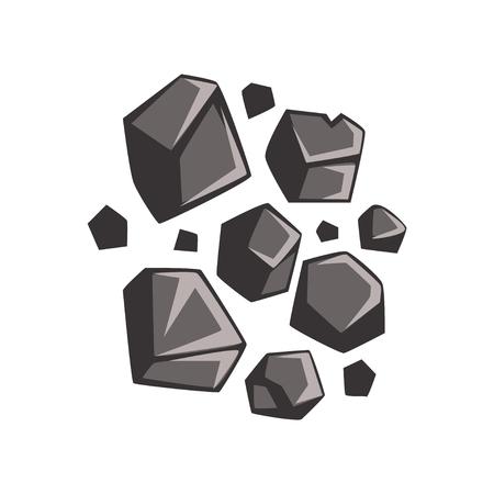 석탄의 평평한 만화 덩어리 일러스트