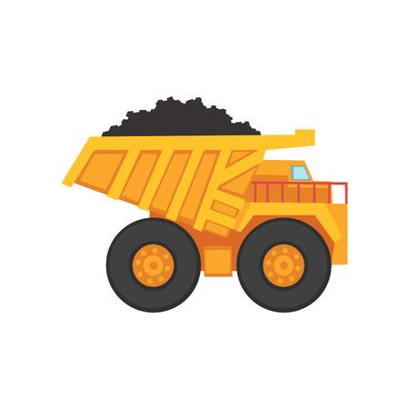 석탄 운송을위한 만화 광업 덤프 트럭 일러스트