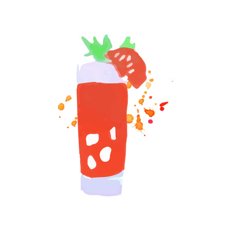 Bloody Mary cocktail colorful hand drawn watercolor vector Illustration on a white background