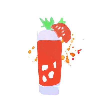 Bloody Mary-kleurrijke vectorillustratie van de cocktail de kleurrijke hand getrokken waterverf op een witte achtergrond
