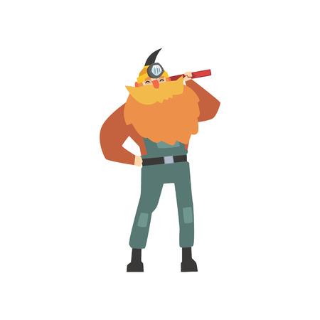 Vrolijke rood-gebaarde mijnwerker in bouwvakker die zich met houweel op zijn schouder bevinden die op wit wordt geïsoleerd. Gekleed in overall en jack. Professioneel op het werk. Cartoon mannelijke werknemer karakter. Platte vector.
