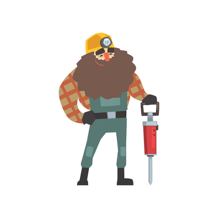 Smiling bearded miner with jackhammer