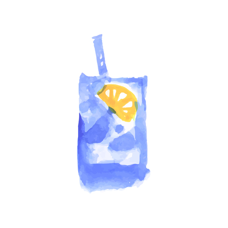Water with lemon, cocktail colorful hand drawn watercolor vector Illustration