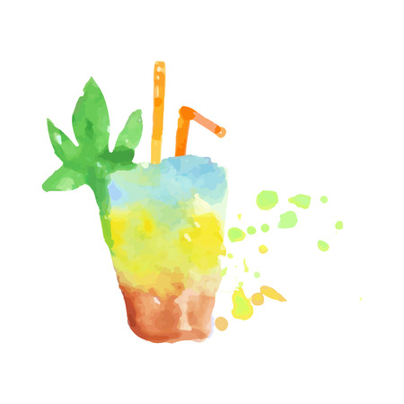 Tropical layered cocktail colorful hand drawn watercolor vector Illustration Illustration