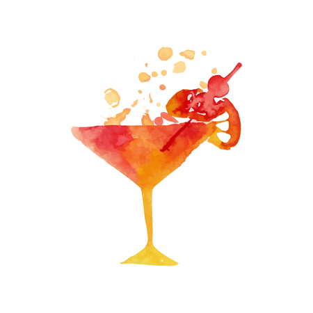 Martini glass with cocktail colorful hand drawn watercolor vector Illustration Illustration