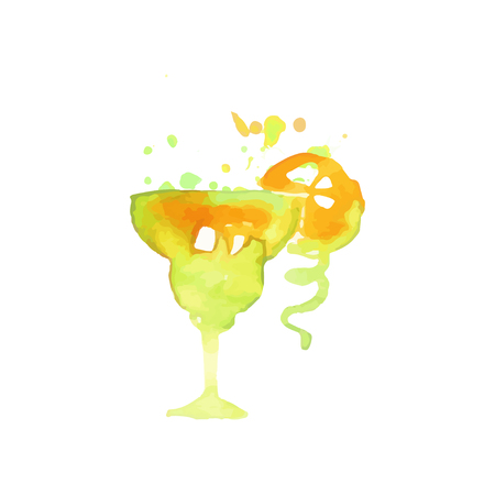 Green cocktail alcohol mixed drink or lemonade colorful hand drawn watercolor vector Illustration