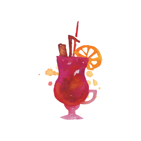 Colorful cocktail alcohol mixed drink or lemonade with straw and lemon hand drawn watercolor vector Illustration