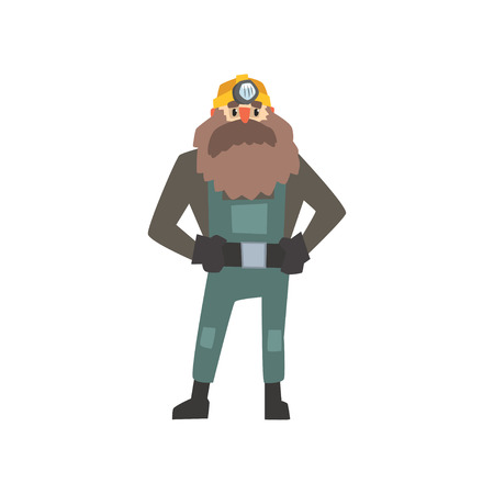 Bearded miner standing with arms akimbo