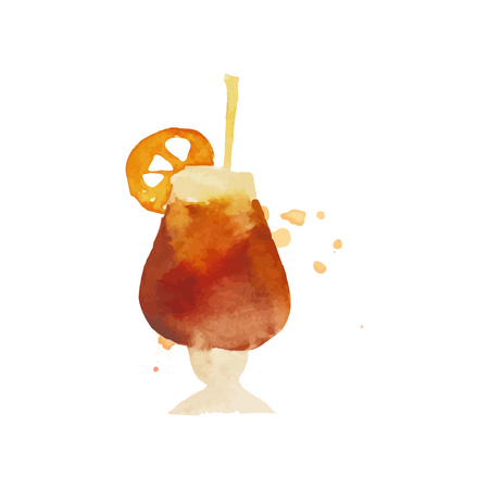 Cocktail or iced tea colorful hand drawn watercolor vector Illustration Illustration