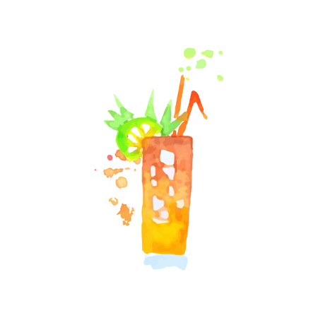 Tropical cocktail colorful hand drawn watercolor vector Illustration Illustration