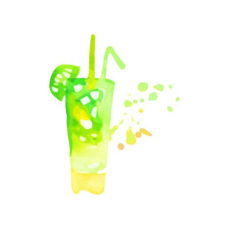 Mojito cocktail colorful hand drawn watercolor vector Illustration
