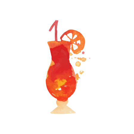 Cocktail alcohol mixed drink with lemon colorful hand drawn watercolor vector Illustration