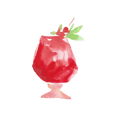 Cocktail alcohol mixed drink colorful hand drawn watercolor vector Illustration