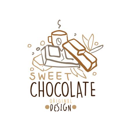 Choco snoep winkel hand getrokken sjabloonontwerp Stock Illustratie