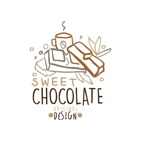 Choco sweets shop hand drawn  template design