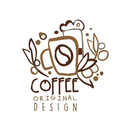 Coffee to go hand drawn original  design with paper cup Illustration