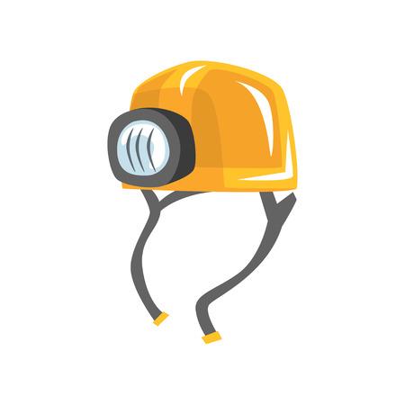 Yellow worker helmet with flashlight Illustration