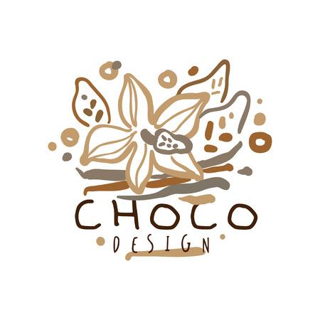 Café dibujado a mano diseño original con flor de cacao Foto de archivo - 88886668
