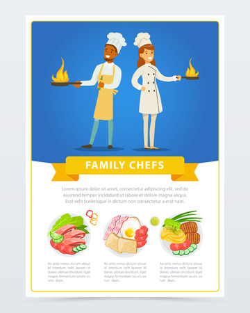 Colorful vertical flat poster with man and woman cook in kitchen uniform holding frying pans in hands. Restaurant character. Family chefs. Menu with different dishes. Cartoon design for card or flyer.