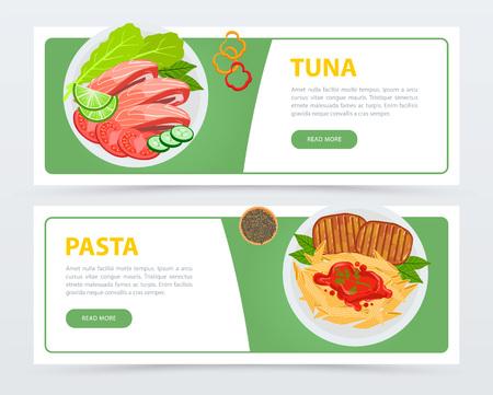 Bovenaanzicht op menu gerechten, banners sjabloon instellen. Tonijn met tomaten, komkommers, sla, munt en limoen. Pasta met kruiden, vlees en saus. Platte vector voor restaurant website of mobiele app.