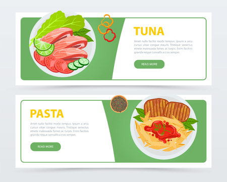 Top view on menu dishes, banners set template. Tuna with tomatoes, cucumbers, lettuce, mint and slice of lime. Pasta with seasonings, meat and sauce. Flat vector for restaurant website or mobile app.