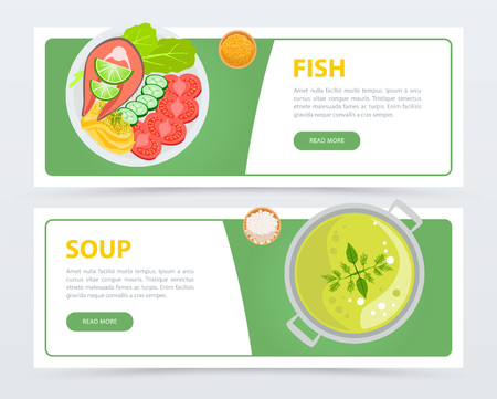 Colorful food banners template. Menu dishes top view. Fish with potatoes, cucumbers, tomatoes, salad and slice of lime. Vegan soup with mint and dill. Flat vector for restaurant website or mobile app. Illustration