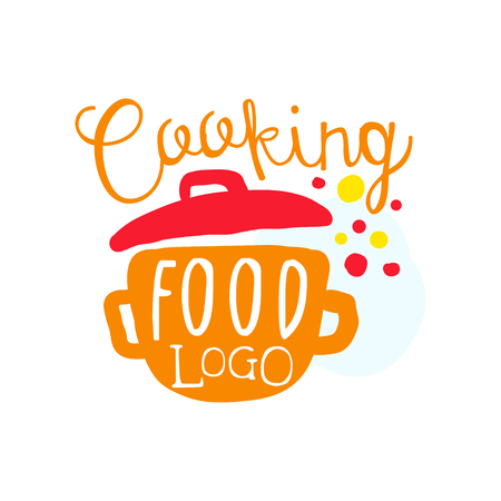 Colorful handmade badge or label design for cooking food. Handwritten lettering with saucepan, for cooking club or class, culinary school, food studio or home kitchen. Vector isolated on white.
