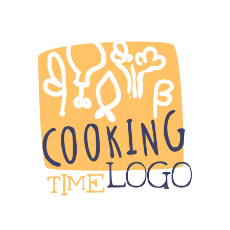 Cooking time hand drawn logo or badge design. Handwritten lettering with food on cutting board. Label for cooking club or class, culinary school, food studio or home kitchen. Vector isolated on white.