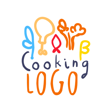 Handmade badge design for cooking class. Hand drawn icon with abstract food decor, label for cooking club, culinary school, food studio or home kitchen. Cuisine background. Vector isolated on white Illustration