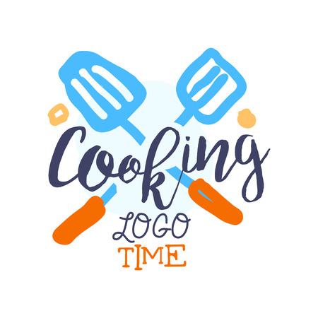 Colorful badge or label design for cooking food. Hand drawn text with crossed scapula for food, icon for culinary school, club, food studio or home kitchen. Cuisine background vector isolated on white Illustration