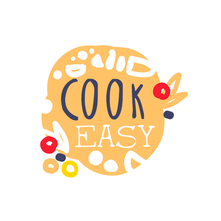 Positive Handmade Badge Or Label Design For Cooking Food Handwritten Lettering Logo Club