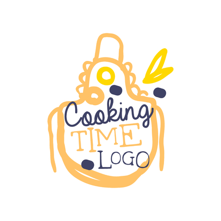 Handwritten lettering logo with apron and phrase cooking time. Colorful handmade badge or label design for cooking food. Label for culinary school, food studio, home kitchen. Vector isolated on white.