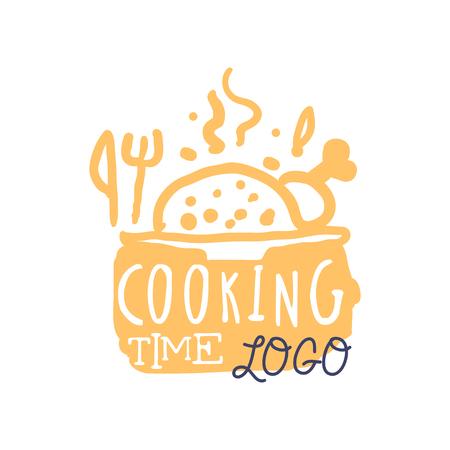 Bunte handgemachte Logo-Design für das Kochen von Lebensmitteln. Handgeschriebene Beschriftung mit abstraktem heißem Teller und Besteck, Aufkleber für das Kochen eines Clubs, einer Kochschule, eines Lebensmittelstudios oder einer Hauptküche. Vektor getrennt auf Weiß Standard-Bild - 88921357