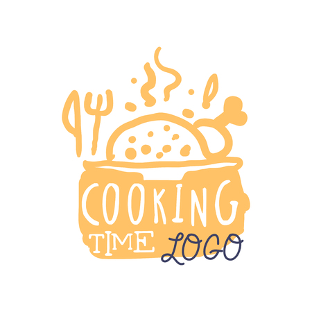 Colorful handmade logo design for cooking food. Handwritten lettering with abstract hot dish and cutlery, label for cooking club, culinary school, food studio or home kitchen. Vector isolated on white