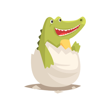 Funny green newborn crocodile in broken egg shell. Baby reptile hatching from egg. Little creature life. Flat cartoon tiny pet character birthday. Adorable emoji vector illustration isolated on white.