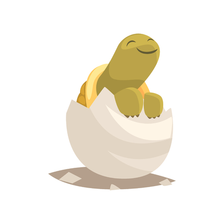 Funny green newborn turtle in broken egg shell. Baby animal hatching from egg. Little creature life. Flat cartoon tiny pet character birthday. Cute tortoise emoji vector illustration isolated on white